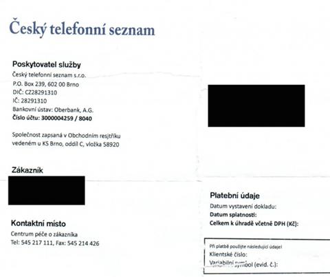 český Telefonní Seznam Klame Nabídkou Vypadající Jako Faktura Za
